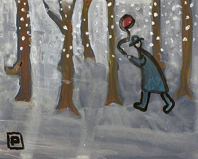 Snowstorm Mixed Media - Man With Red Balloon by Peter  McPartlin