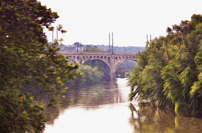 Manayunk Bridge Along The Schuylkill River Print by Bill Cannon