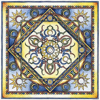 New Moon Drawing - Mandala Of The Sun by Hakon Soreide