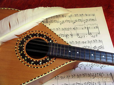 Mandolin And Partiture Print by Carlos Caetano