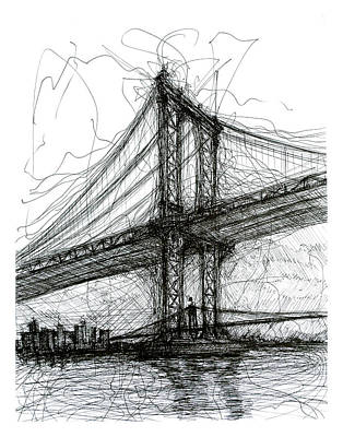 Brooklyn Bridge Drawing - Manhattan Bridge From Rutgers Street Nyc by Brendan Higgins