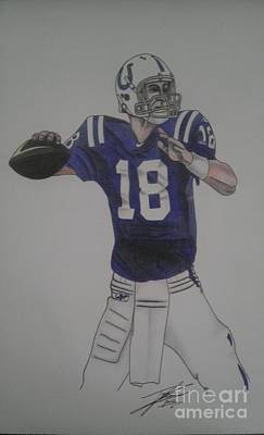 Peyton Manning Drawing - Manning by Taylor Made Designs