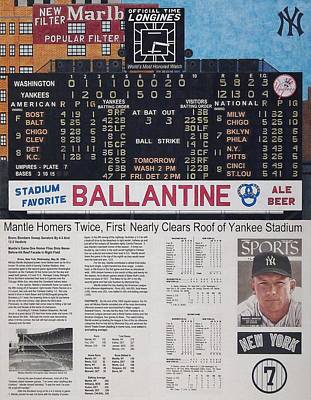 Scoreboard Mixed Media - Mantle Triple Crown 1956 by Marc Yench
