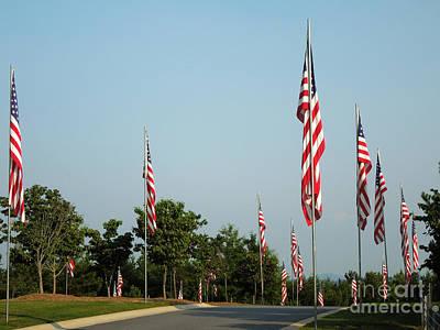 Many American Flags Print by Renee Trenholm