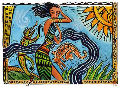 Maori Woman Dance Print by Shawn Shea