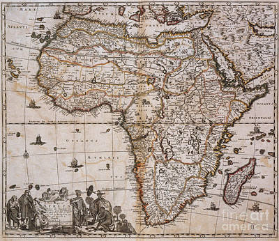 Map Of Africa, 1688 Print by Photo Researchers
