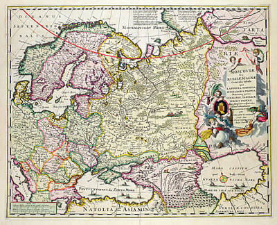 Moscow Drawing - Map Of Asia Minor by Nicolaes Visscher