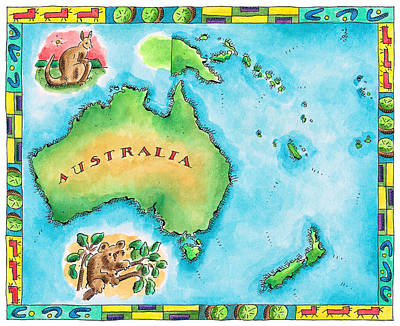 Koala Digital Art - Map Of Australia by Jennifer Thermes