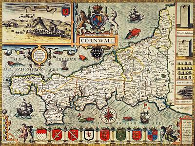 Shield Drawing - Map Of Cornwall by John Speed