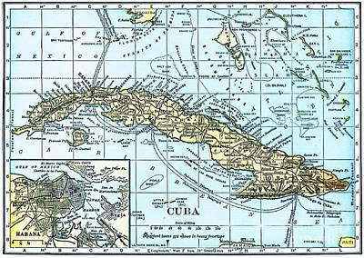 Reproduction Mixed Media - Map Of Cuba by Pg Reproductions