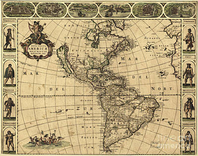 Map Of The Americas, 1660 Print by Photo Researchers