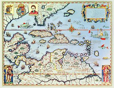 Map Of The Caribbean Islands And The American State Of Florida Print by Theodore de Bry