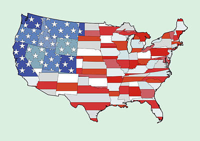 Map Of United States Of America Depicting Stars And Stripes Flag Print by Atomic Imagery