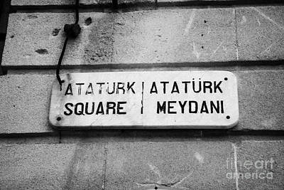 marble old street nameplate of ataturk square nicosia TRNC turkish republic of northern cyprus Print by Joe Fox