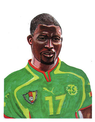 Sports Painting - Marc Vivien Foe by Emmanuel Baliyanga
