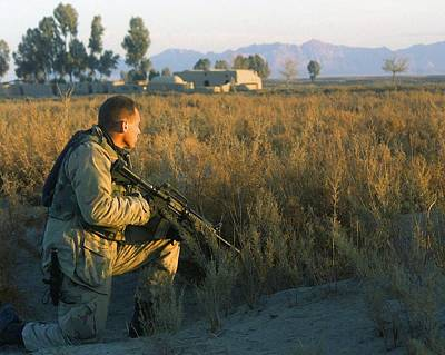 Terrorism Photograph - Marine Scout Armed With M4 Carbine by Everett