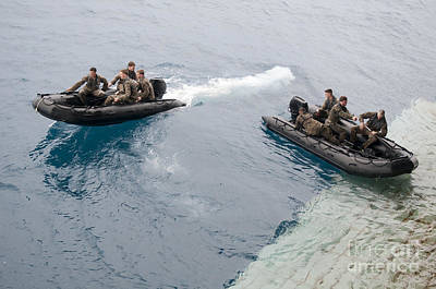 Inflatable Photograph - Marines Depart The Well Deck by Stocktrek Images