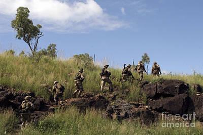 Marines Patrol The Australian Outback Print by Stocktrek Images