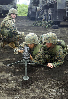 Marines Practice Setting Up An M240g Print by Stocktrek Images