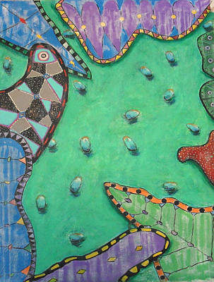 Modern Painting - Mariposas Frijoles Y Milagros In Green And Blue by Michael Pedziwiatr