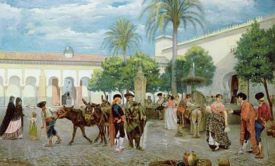 Water Jug Painting - Market Day In Spain by Filippo Baratti