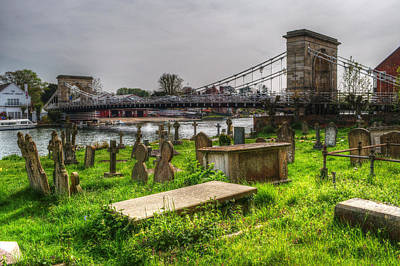 Marlow Bridge From All Saints Graveyard Print by Chris Day