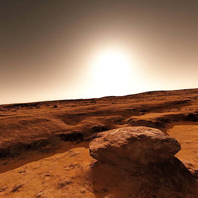 Flooding Photograph - Martian Landscape And Sun, Artwork by Detlev Van Ravenswaay