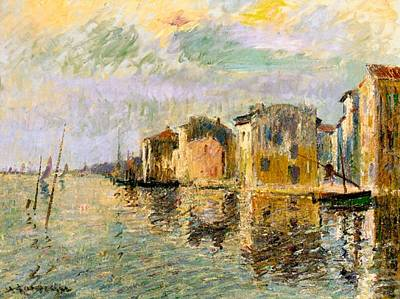 Martigues In The South Of France Print by Gustave Loiseau