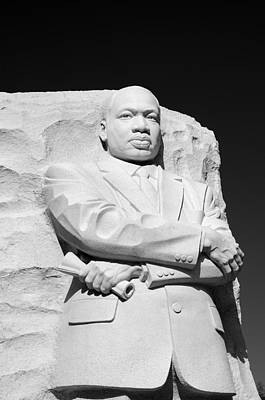 Martin Luther King Jr Memorial - Black And White Print by Brendan Reals