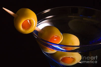 Martini Cocktail With Olives In A Blue Glass Print by ELITE IMAGE photography By Chad McDermott