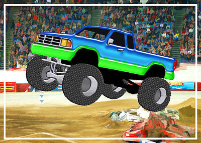 Education Painting - Marvelous Monster Truck In The Arena  by Elaine Plesser
