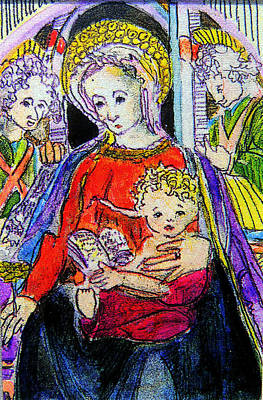 Madonna Mixed Media - Mary Jesus And The Saints by Mindy Newman