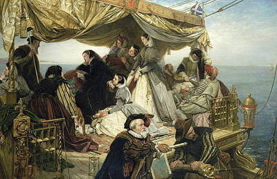 Beach Painting - Mary Stuart's Farewell To France by Henry Nelson O Neil