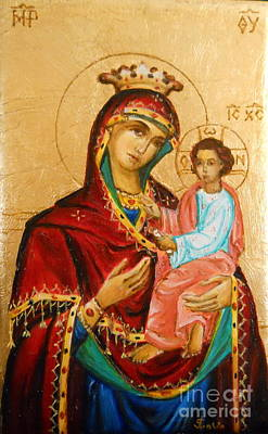 Mary With Jessus R.3 Print by Sorin Apostolescu