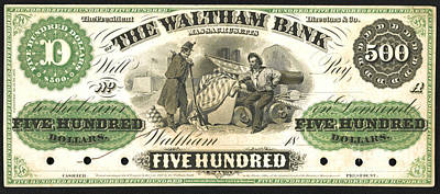 Waltham Photograph - Massachusetts Money 1862 by Padre Art
