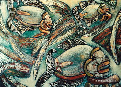 Collagraph Mixed Media - Mayan Aquarium    No. 4 by Pamela Iris Harden