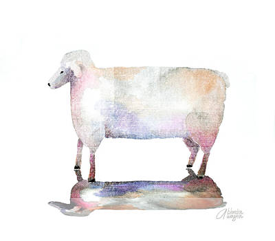 Lamb Mixed Media - Me And My Colorful Shadow by Arline Wagner