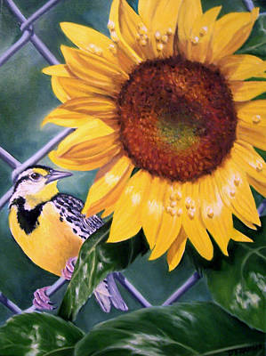 Meadowlark Painting - Meadowlark And Sunflower by Donna Francis