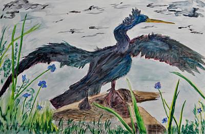 Anhinga Painting - Anhinga-drying Out by Mickey Krause