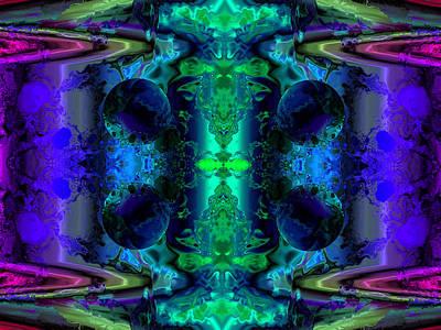 Algorithmic Digital Art - Meditation On Green And Blue by Claude McCoy