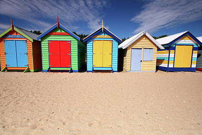 Melbourne Beach Huts In Australia Print by Timphillipsphotos
