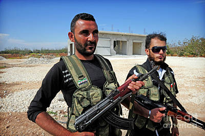 Members Of The Free Syrian Army Print by Andrew Chittock