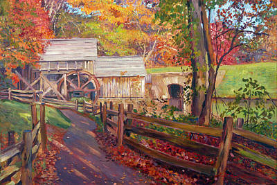 Grist Mill Painting - Memories Of Autumn by David Lloyd Glover