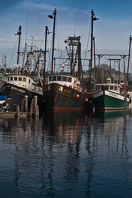 Menemsha Village Fishing Boats Print by Peggie Strachan