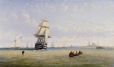 Royal Navy Painting - Meno War Schooners And Royal Navy Yachts by Claude T Stanfield Moore