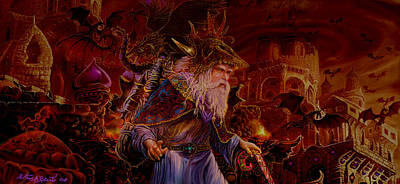 Fantasy Painting - Merlin At Hells Gate by Steve Roberts