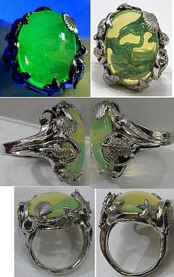 Vaseline Glass Jewelry - Mermaid And Dolphin Ring by Michelle  Robison