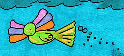 Mermaid Creature Print by Jera Sky