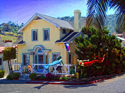 Mermaid Mixed Media - Mermaid House by Snake Jagger