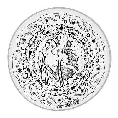 Mermaid In Black And White Round Circle With Water Fish Tail Face Hands  Print by Rachel Hershkovitz